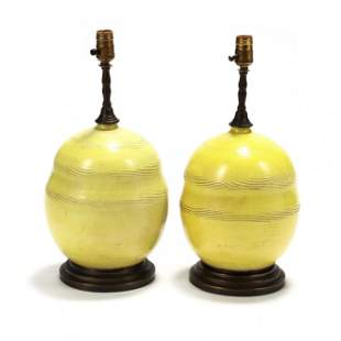 Pair of French Mid-Century Pottery Table Lamps
