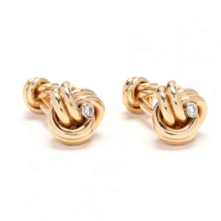 Pair of 14KT Gold and Diamond Knot Motif Cufflinks,