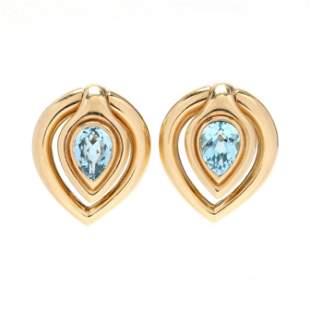 18KT Gold and Blue Topaz Earrings, Bulgari