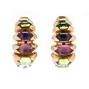 18KT Gold and Multi-Gemstone  Celtica  Half Hoops,