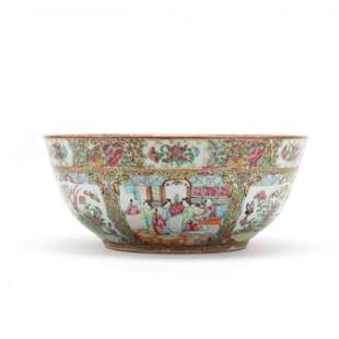 A Large Chinese Export Porcelain Rose Medallion Punch