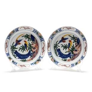 A Pair of Dutch Delft Polychrome Plates