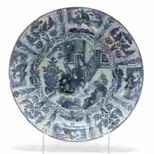 Dutch Delft Blue and White Chinoiserie Charger