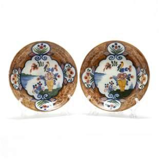 A Pair of Dutch Delft Polychrome Plates  De Porseleine