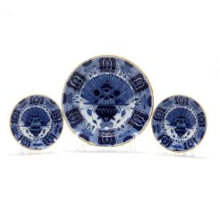 Assembled Group of Three Dutch Delft Peacock Feather