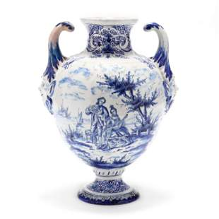 A Delft Blue and White Armorial Vase, signed