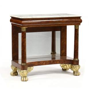 American Classical Marble Top Mahogany Pier Table
