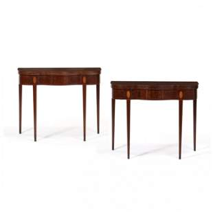 Pair of Federal Inlaid Mahogany Card Tables, stamped I.
