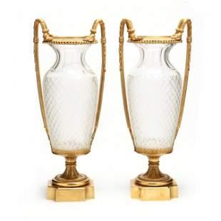 att. Baccarat, Impressive Pair of Louis XVI Style