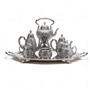 Tiffany & Co. Antique Sterling Silver Repousse Tea &