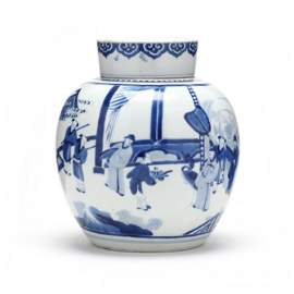 A Chinese Blue and White Ginger Jar with Cover