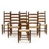 E.A. Clore Sons, Set of Six Ladder Back Dining Chairs