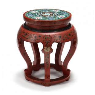 A Chinese Red Lacquered Garden Seat with Cloisonne