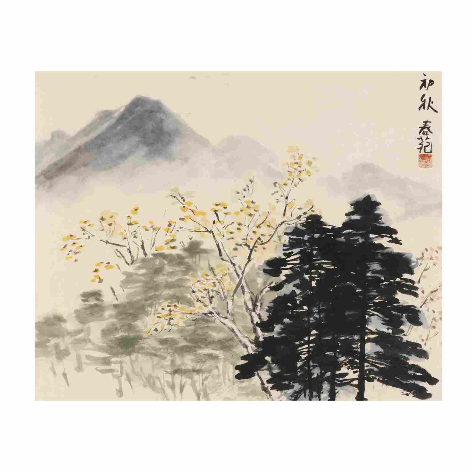 A Chinese Watercolor Painting of Spring Landscape