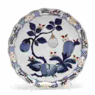 A Japanese Imari Plate with Aubergines