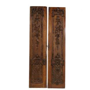 A Pair of Louis XV Style Antique Carved Walnut Tall
