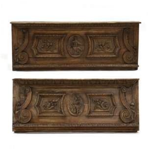 Two Antique Continental Carved Walnut Architectural