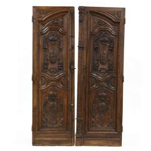 Pair of Antique Continental Tall Carved Walnut