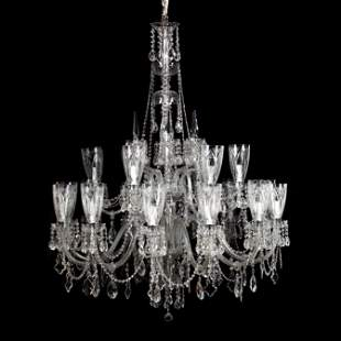 Large Georgian Style Two-Tier Crystal Chandelier with