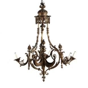 Vintage Louis XVI Style Gilt Brass Chandelier