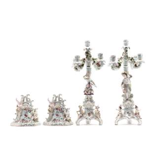 Two Pairs of Dresden Porcelain Wall Brackets and