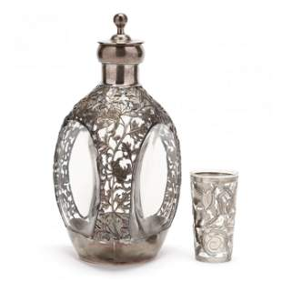Silver Overlay Pinch Bottle Decanter and Jigger