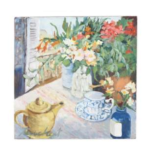 A Contemporary Still Life Painting with Flowers by the