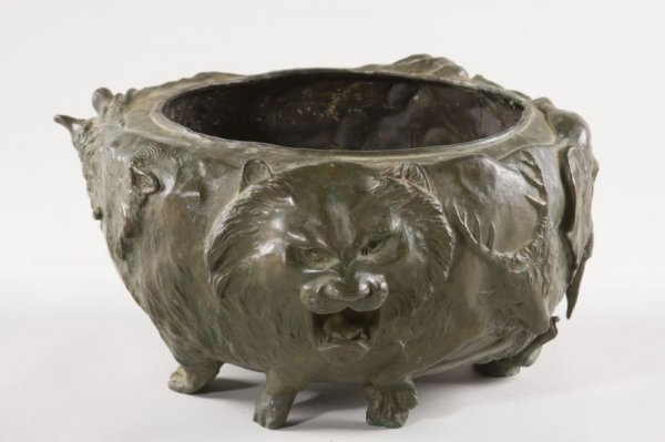 1: Asian Bronze Jardiniere With Animal Theme