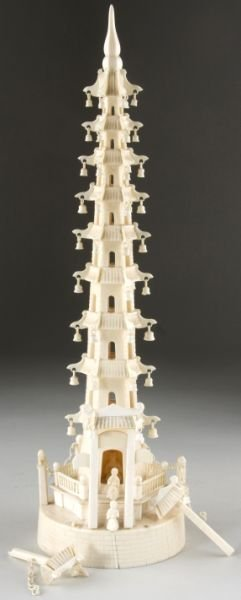 5: Asian Carved Ivory Pagoda Tower