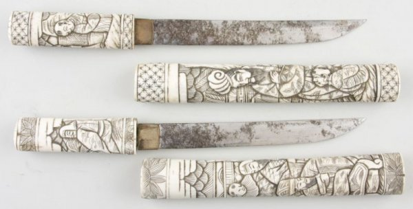 8: Pair of Japanese Daggers with Ivory Grip, Sheaths