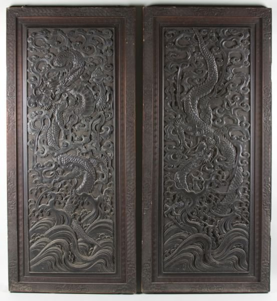 10: Matched Pair of Antique Asian Carved Wooden Doors
