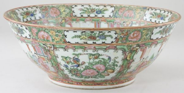 18: Chinese Export Rose Medallion Punch Bowl