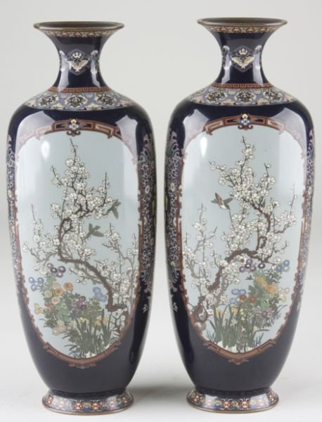 23: Pair of Fine Cloisonne Footed Vases, circa 1900