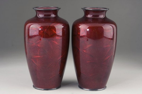 24: Pair of Japanese Red Cloisonne Silver Vases