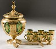 299 Victorian Gilt and Enameled Punch Bowl Set