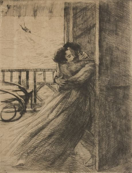 520: Etching by Albert Besnard (French, 1849-1934)