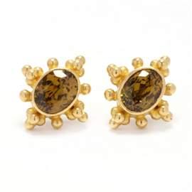 22KT / 18KT Gold and Gem-Set Earrings, Bikakis & Johns