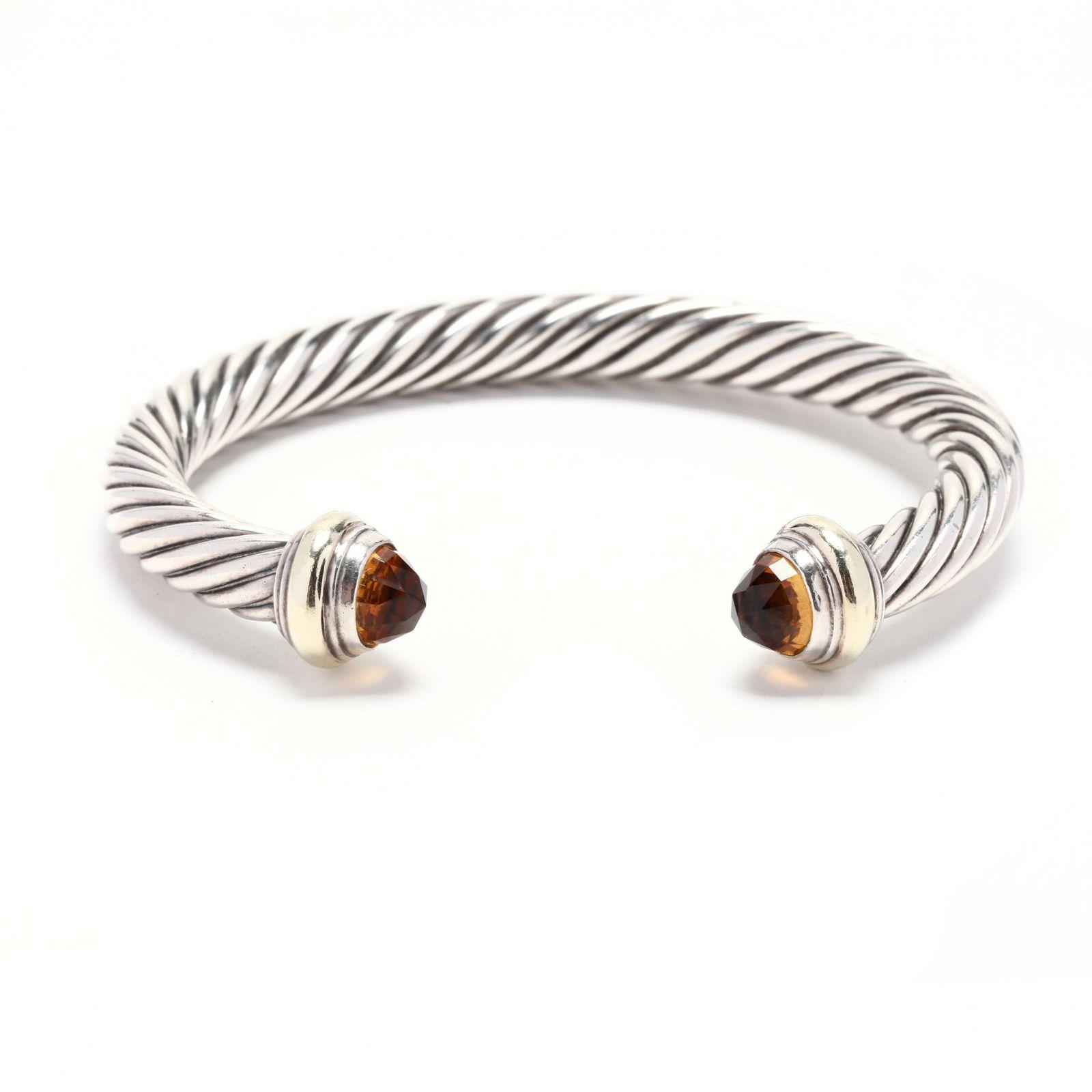 14KT Gold, Sterling Silver, and Citrine Cuff Bracelet,