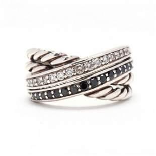 Sterling Silver, Diamond and Black Diamond Crossover