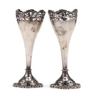 Pair of George V Silver Trumpet Vases