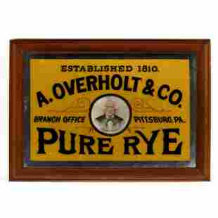 A Rare Antique Reverse Glass Overholt Rye Advertising