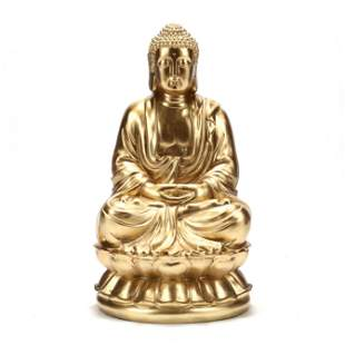 Contemporary Large Gilt Seated Buddha