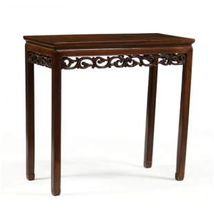 An Antique Chinese Hardwood Diminutive Console Table