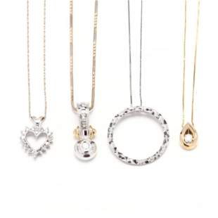 Four 14KT Gold Pendant Necklaces