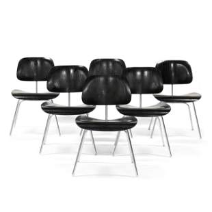 Charles and Ray Eames, Early Set of Six DCM Chairs