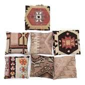Seven Vintage Kilim Topped Throw Pillows