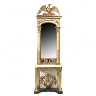 Swedish Carved and Gilt Eagle Marble Top Pier Mirror,