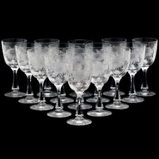 Hawkes, Set of (15) Chrysanthemum Water Goblets