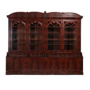 Late Federal Mahogany Large Bookcase