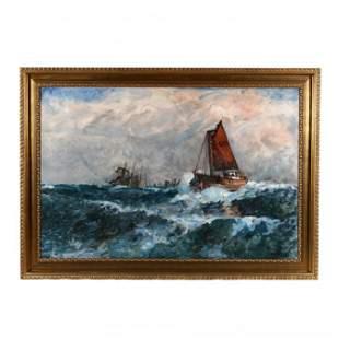 Niels Hansen (Danish, 1880-1946), Large Maritime Scene